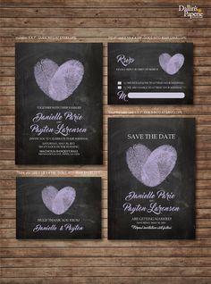 Mariage Invitation imprimables Finger print par DallinsPaperie