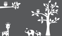 Nursery decal  - Silhouette tree branch, Tree, Elephant, Giraffe, owls - Wall Decal wall decal