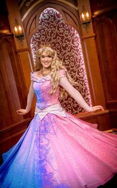 Sleeping Beauty Aurora pink and blue dress cosplay