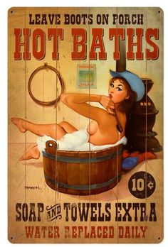 Hot Baths Metal Sign 12 x 18 Inches