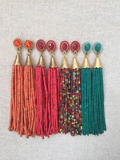 These earrings are such a fun statement! The beaded texture and fun colors dress up any outfit!  Choose earrings based on tassel color  Stud