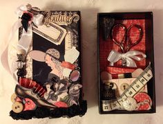 annes papercreations: G45 Couture mini album book match box and travel sewing math box