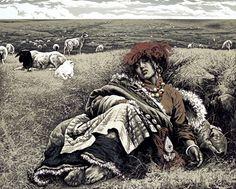 Shepherdess  by Yuan Qing Lu  Woodcut, 81x100cm,1994