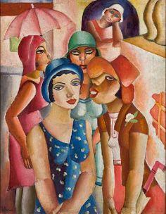 """Emiliano Di Cavalcanti (Brazilian, 1897-1976) - """"Cinco moças de Guaratinguetá"""" (Five girls of Guaratinguetá), 1930 - Museu de Arte de São Paulo (MASP)  Art Museum of São Paulo Assis Chateaubriand - MASP"""