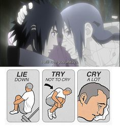 <3 Sasuke & Itachi - Lie Down, Try Not to Cry, Cry a Lot.