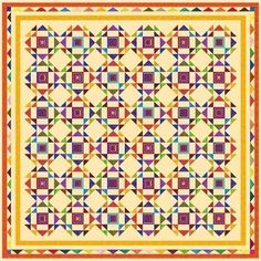 """Love the striped center blocls HIAWATHA - 102"""" - Pre-cut Patchwork Quilt Kit by Quilt-Addicts King #QuiltAddicts"""