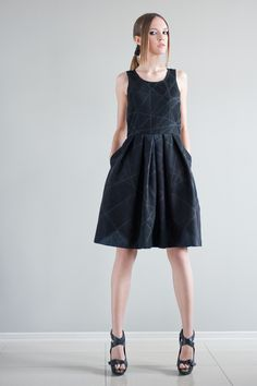 Perfect gift for check lovers. Ethical Dresses – UNIQUE QUILTED TANK DRESS WITH PLEATS – a unique product by KOIRE-feminine-clothes via en.DaWanda.com