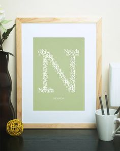 "Letter ""N"" Custom Initial Print for Newborns, Kids, Teenagers and Adults.  A Thoughtful Gift for Personalized Home or Office Decor!  Customized décor to suit the nursery, bedroom, bathroom, dorm or office makes gift-giving easy! Choose from 18 colors and 2 sizes to create the perfect gift :) #LamplightStudioShop"