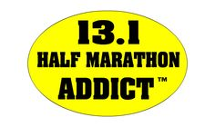 Bright Yellow Half Marathon Addict Stickers FOR SALE! Nice and BIG .... AND SUPER DURABLE for outdoor use such as back of vehicle! http://halfmarathonclub.mybigcommerce.com/black-on-yellow-half-marathon-addict-large-5-33-x-8-window-sticker-decal/