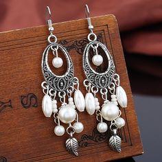 Vintage Leaf Oval Beads Earrings - WHITE