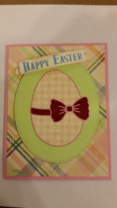 March Die Club Card Using Poppy Stamps Ribbon and Bow Egg die.