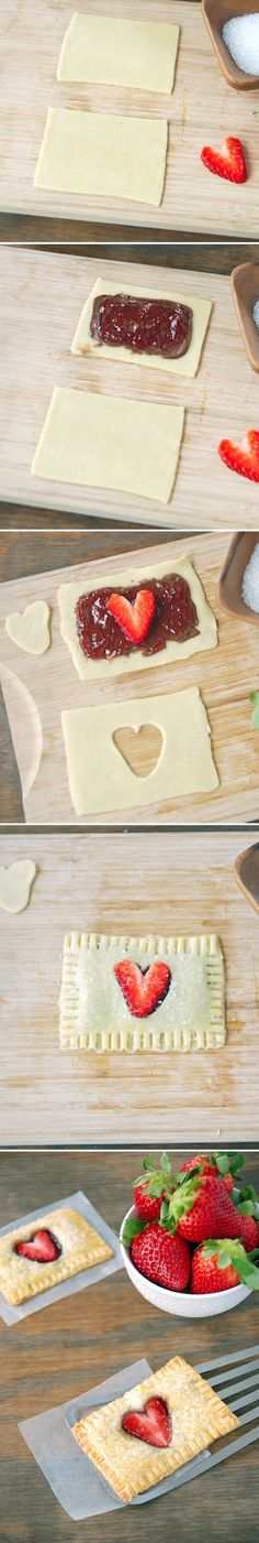 DIY strawberry heart pop tarts - these would be perfect for a wedding rehearsal dinner!