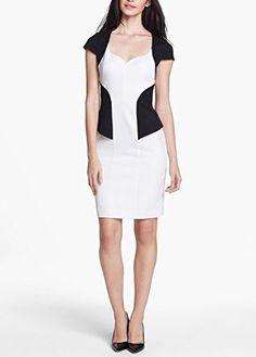 Cool Black Halo Women's White Danya Colorblock Sheath Dress Hidden back-zip closure Lined Polyamide/viscose rayon/spandex