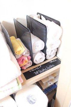 A sorter helps stack washcloths.