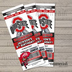Ohio State Birthday Party Ticket Invitations Printed by NuanceInk Birthday Themes For Boys, Boy First Birthday, First Birthday Parties, Birthday Party Themes, First Birthdays, Ohio State Baby, Party Tickets, Football Birthday, Birthday Party Invitations