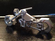 Painted motorcycle metal art