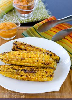 Tangy Kimchi Grilled Corn on the Cob   ASpicyPerspective.com #grilling #summer #corn #grilledcorn