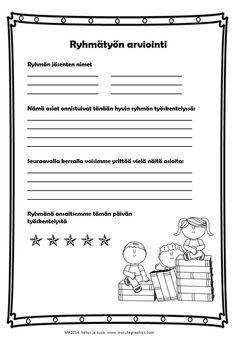 Ryhmätyön arviointia (in Finnish) by Maria Pernu Student Self Assessment, Formative Assessment, Parent Teacher Conferences, Teacher Notes, Teaching Schools, Teaching Social Studies, Evaluation Form, Study Skills, Deep Learning