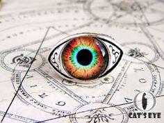 Adjustable human eye ring  colorful fantasy eye от CatsEyeHandmade