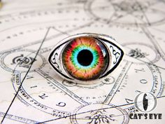 Adjustable human eye ring  colorful fantasy eye от CatsEyeHandmade