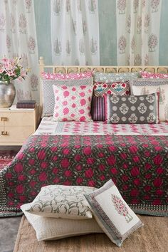 FERGNA A collection of fine hand block prints inspired by the flowering fruit trees of the Fergana valley , the birthplace of Babur, founder of the Mughal empire. Pomegranates also known as Fruit of Paradise have a deep significance in cultures along the Silk Road. They are symbolic of abundance and fertility. Apple trees in full bloom are juxtaposed with cypress trees, flowering vines and songbirds in a verdant orchard. Discover the Fergana collection on our #WebBoutique . #BedTimeStories