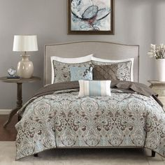 King Size Reversible 6-piece Coverlet Set Quilted Bedding Shams Paisley Print #MadisonPark #Contemporary