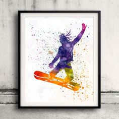 Young snowboarder man 01 in watercolor - Fine Art Print Glicee Poster Home…