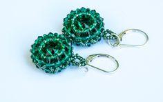 Emerald Green Beaded Crystal Earrings, Sterling Silver, Bead Weaving, Boho Chic, Swarovski Crystal, Emerald Earrings, Drop Earrings by seedbeadsofchange on Etsy