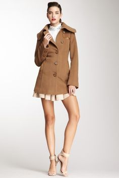 Mackage Leather Trim Wool Coat by Luxe Leather on @HauteLook