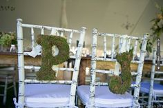 pretty moss letter chair backs for bride and groom - love the distressed white chairs too! (photos by Carla Ten Eyck) | CHECK OUT MORE IDEAS AT WEDDINGPINS.NET | #weddings #weddingdecor #weddingdecoration #decor #decoration #events #forweddings