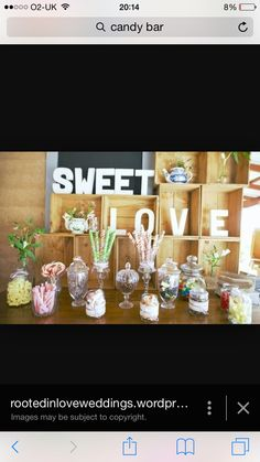 Candy bar Candy Buffet, Bar, Table Decorations, Sweet, Home Decor, Candy, Decoration Home, Room Decor, Dinner Table Decorations