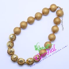 Free Shipping Fashion Kids Handmade Jewelry DIY Chunky Bubblegum Gold Beaded Necklace Manufacturer For Amazon Ebay CDNL-410470 #Affiliate