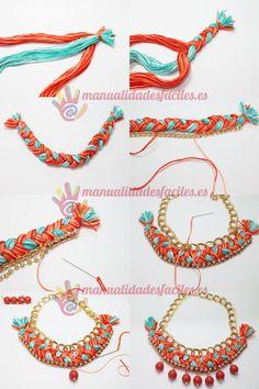 Como hacer un collar tejido con cadenas y abalorios