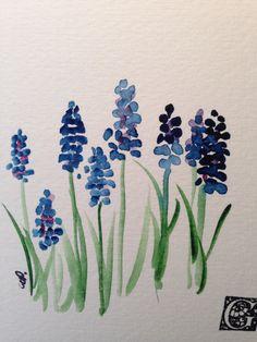 Grape Hyacinths Watercolor Card II
