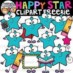 Happy Stars Clipart Freebie {Stars Clipart} Create vibrant resources perfect for back to school with this fun bright stars clipart! All images are provided in color and bw. Click to view. #creating4theclassroom #backtoschool #tpt #classroomdecor