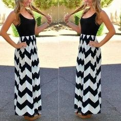 Online Shop Hot Selling Womens Sexy Sleeveless Long Party Beach Chiffon Black and White Stripes Dress Aliexpress Mobile