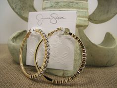 Jessica Simpson Hoopnotic Crystal Accented Gold Tone Hoop Earrings #JessicaSimpson #Hoop