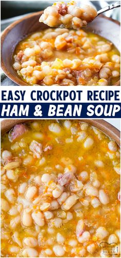 Ham Bone Recipes, Leftover Ham Recipes, Top Recipes, Crockpot Ham And Beans, Bread Crockpot, Best Ham And Beans Recipe, Easy Crockpot Soup, Bean Soup Recipes, Legumes