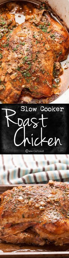 Fall-off-the-Bone Tender. Juicy and perfectly seasoned. You won't believe this Roast Chicken came out of your Crock Pot! #chicken #dinner #recipe