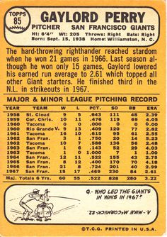gaylord perry rookie card | He should be in the Hall of Fame with a tube of KY jelly attached to ...