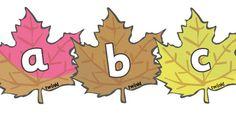 A-Z Alphabet on Autumn Leaves - Autumn, seasons,  A4, display, Alphabet frieze, Display letters, Letter posters, A-Z letters, Alphabet flashcards, autumn pictures, autumn display, leaves, acorn, conker, atumn