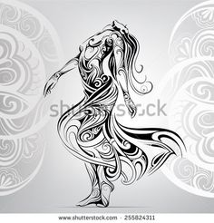 Image vectorielle de stock de Dancing girl in the ornament 255824311 Tattoo Girls, Girl Tattoos, Body Art Tattoos, Tribal Tattoos, Maori Art, Trendy Girl, Doodles Zentangles, Girl Dancing, Dance Photography