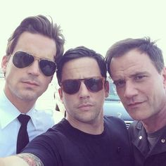 Matt, Ross and Tim. My new favorite picture! #Whitecollar #BAMF ooh, Matthew Keller is back!!! seriousness . . .