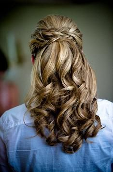 half updo with poof and braid finishing off with gorgeous fluffy curls.... Wedding Hair!!!