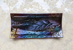 Fused Glass Large Tray in Iridized Dark Plum by MagpieAndSquid