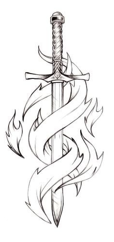 Pretty neat sword tattoo idea, perhaps this sword taken down to an outline, similar to the Lily tattoo. Then I'd wait for my next child (due Aug and think of a third element to the whole deal. ideas Pretty neat sword tattoo idea, perhaps th Cool Art Drawings, Pencil Art Drawings, Art Drawings Sketches, Tattoo Drawings, Body Art Tattoos, Sword Drawings, Tatoos, Tribal Drawings, Celtic Sword Tattoo