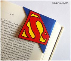 Superman/Supergirl corner bookmark by maliksbureau on Etsy