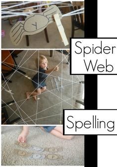 spider web spelling activity for kids. Spelling Word Activities, Literacy Games, Spelling Words, Spelling Ideas, School Age Activities, Halloween Activities For Kids, Preschool Activities, Work Activities, Family Activities