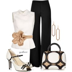 I think this outfit is very elegant and perfect for an evening dinner with clients or work colleague. It could add a jacket or be worn with just the top allowing for this outfit to work for multiple seasons.