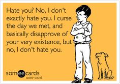 Hate you? No, I don't exactly hate you. I curse the day we met, and basically disapprove of your very existence, but no, I don't hate you.